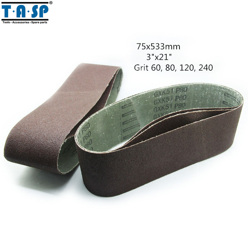 "TASP 5 Pieces Sanding Belts 75 * 533 mm 3"" * 21"" Grit 60 80 120 240 Belt Sander Power Tools Accessories(China (Mainland))"