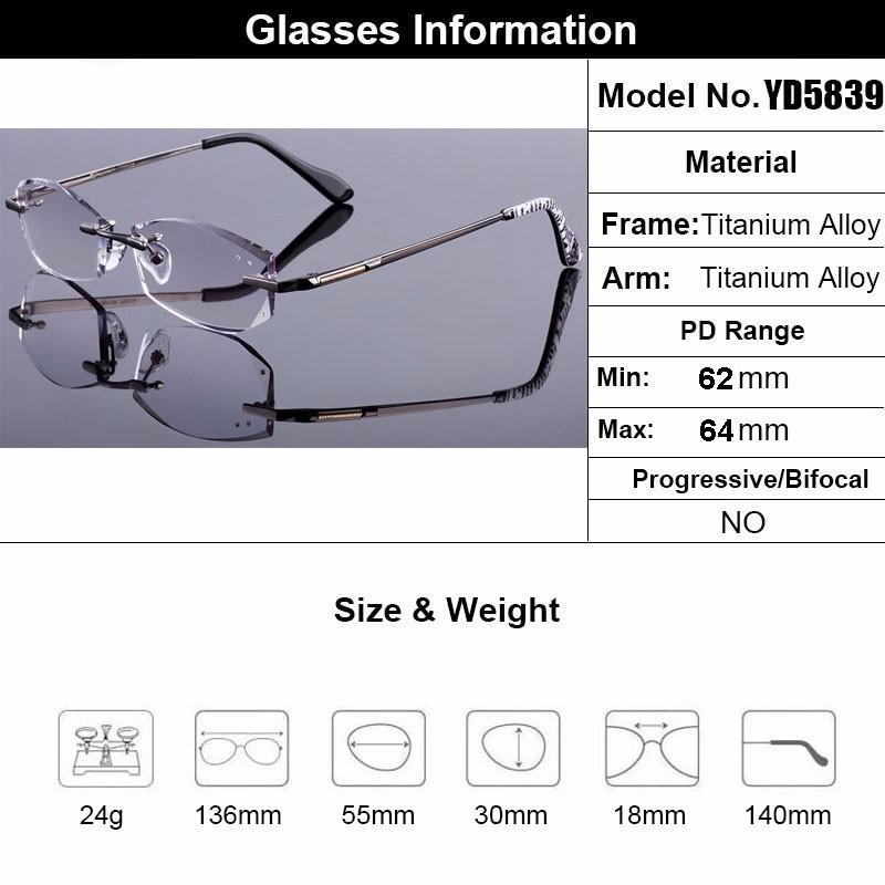 Eyewell Optical Z5839 High Quality Diamond Edge Cutting Rimless Reading Eyeglasses
