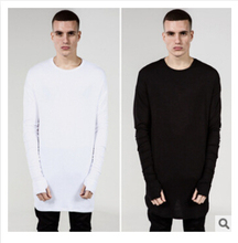 New Thumb Hole Cuffs Long Sleeve  Swag Style Man High Low Side Split Hip Hop Top Tee T Shirt Crew T-shirt Men Clothes