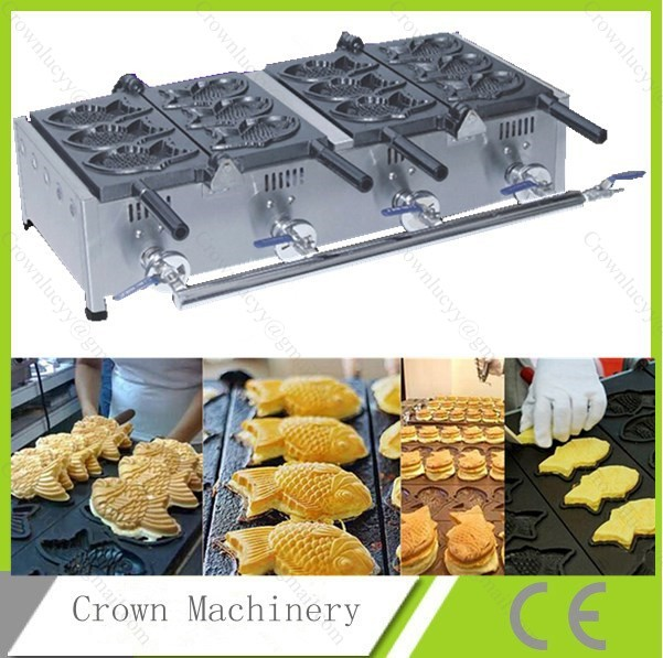 6 pcs fish waffle maker machine;fish cake oven; gas fish grill(China (Mainland))