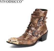VIVODSICCO Lüks İngiliz Tarzı Erkekler Orta Buzağı Çizmeler Hakiki Deri Motosiklet Kovboy Çizmeleri Erkekler Yılan Derisi Çizmeler Elbise Ayakkabı(China)