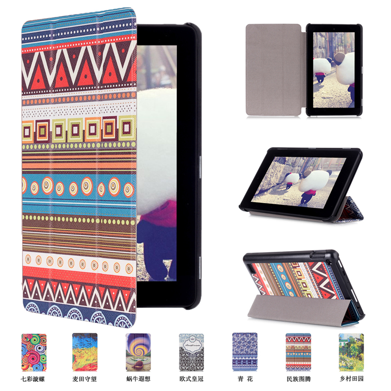 """Printed cover case Stand cover for Amazon kindle Fire 7 (new 2015 version) 7"""" tablet smart cover for kindle 7 tablet skin(China (Mainland))"""