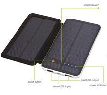 Mobile Power Bank Solar Charger 10000mAh with Flip-open Cover Big Solar Panel Powerbank External Battery Dual USB Backup Charger