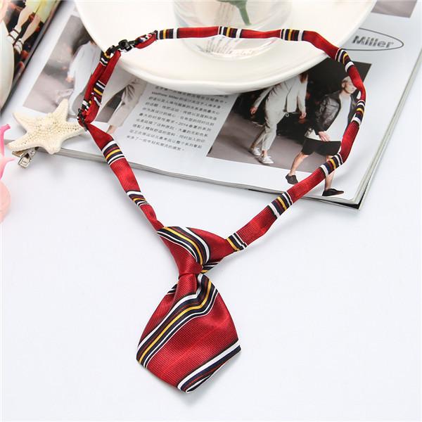 Style Dark Red Dog neck tie bow Cat Adjustable Pet Necktie Grooming Supplies QBA6