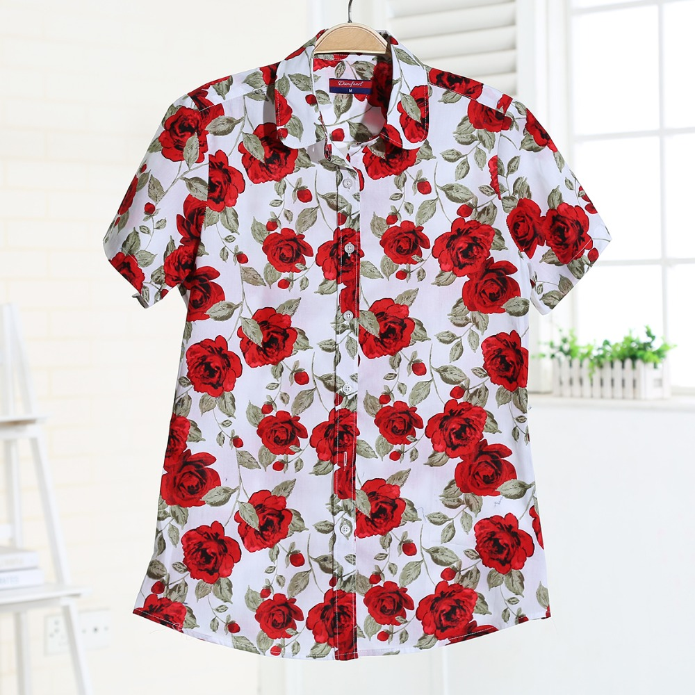 Plus Size Floral Women Blouse Summer Turn-Down Collar Short Sleeve Blouse And Shirt Women Cherry Print Casual Cotton Shirts(China (Mainland))