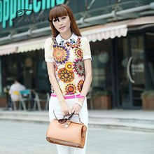 Cute White Color Flower Design O-Neck Regular Sleeves Fashion Lace Hollow Out Blouses for Women(China (Mainland))