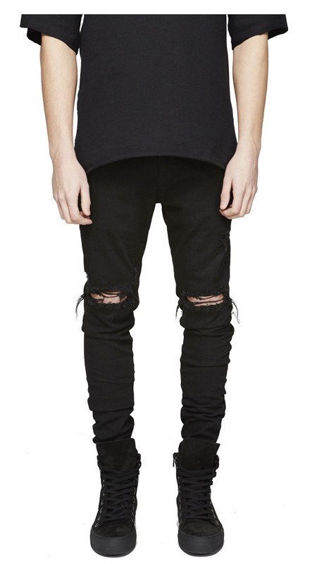 Скидки на Топ канье представляют мужские европейский одежда мужчины голубой/черный дизайнер рок-звезда Отверстие разорвал тощий проблемные джинсы