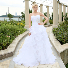 Stock 2016 Sweetheart Ball Gown Wedding Dresses Beaded Sweep Train Organza Plus Size Bridal Gown