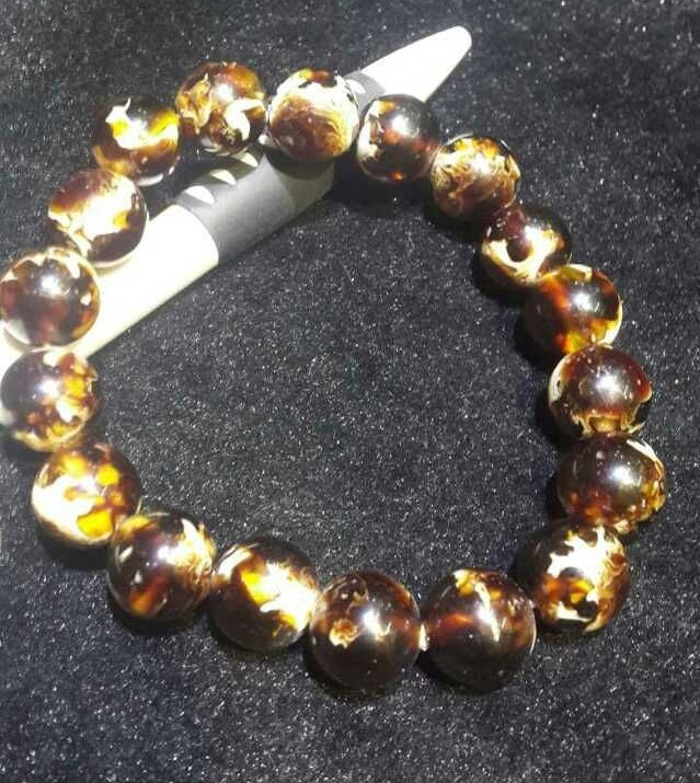 Big Promotion Resin Amber Bracelet 10mm Beads Amber Bracelet Black Color with fragrance for women jewelry Free shipping(China (Mainland))
