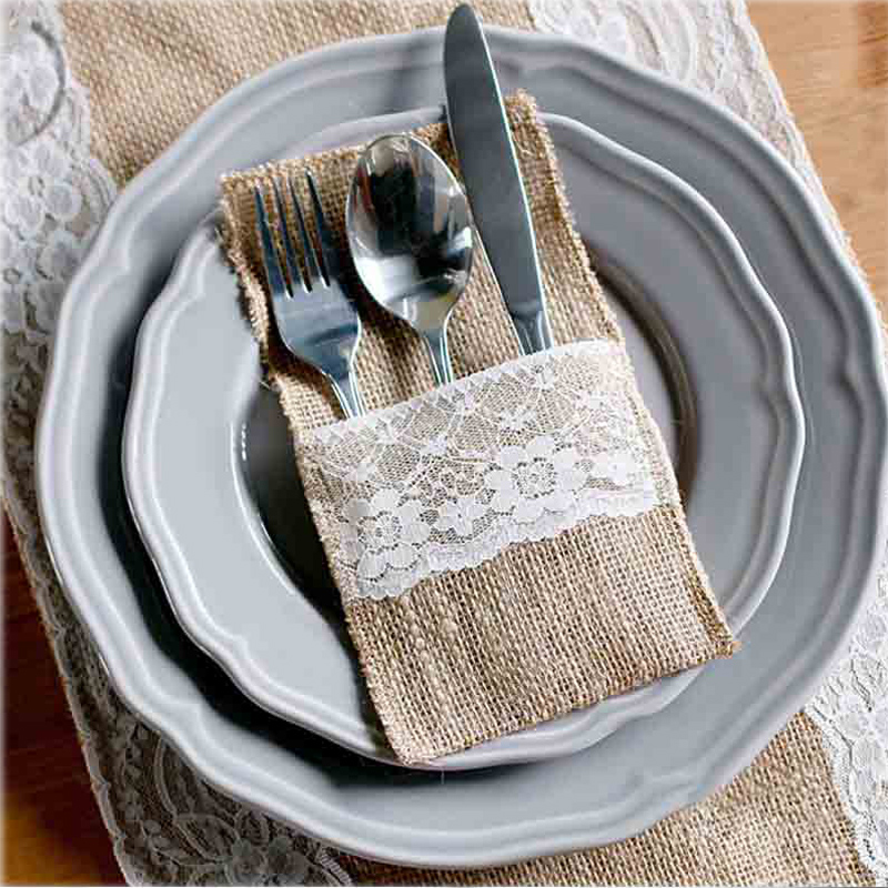50pcs Burlap Lace Cutlery Pouch wedding Tableware Party decoration holder Bag Hessian Rustic Jute(China (Mainland))