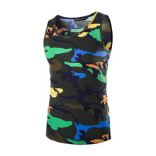 2016 Summer Men's Army Military Camouflage Tank Tops Hot Selling Camo Low Cut Cotton Tops Tees Male Sport Singlet Tight tshirts