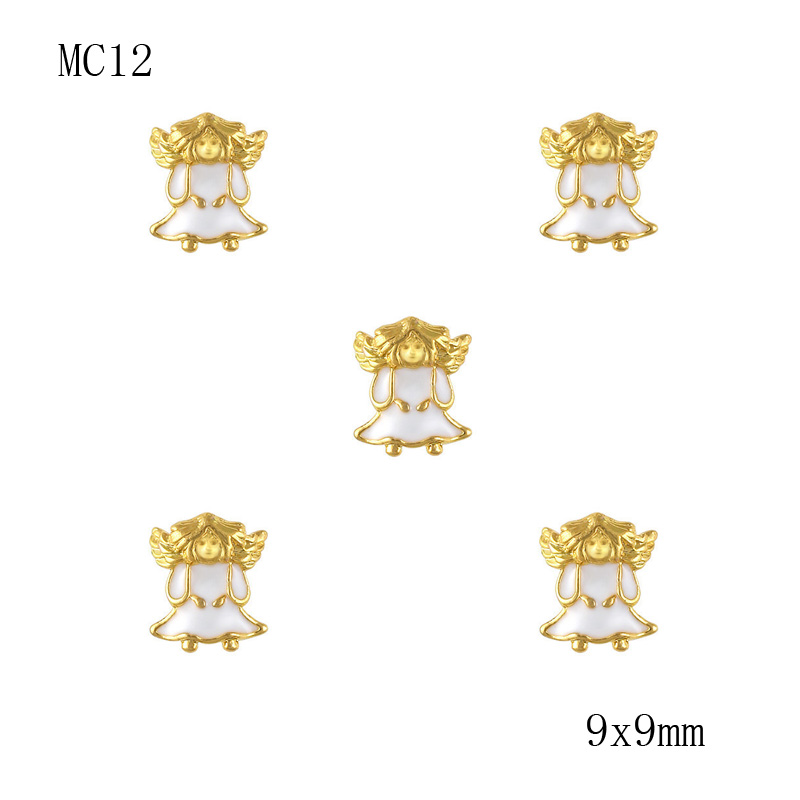 10pcs Gold Angel Ornament Christmas Charm Decorations For Nails 3D Nail Art Studs MC12(China (Mainland))