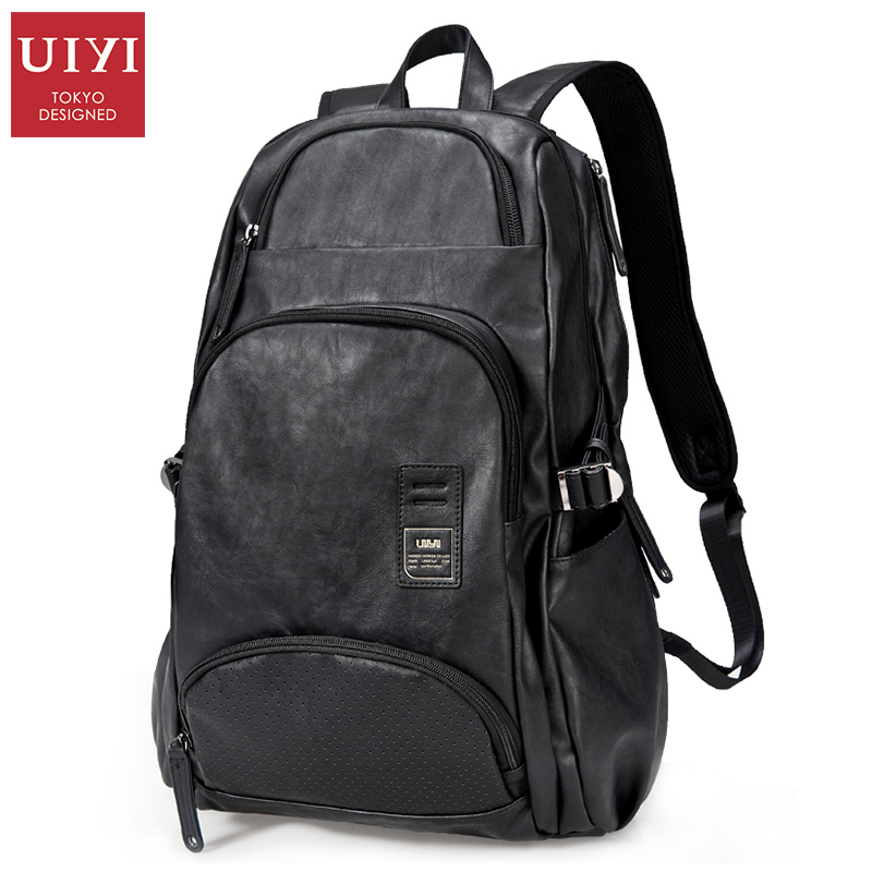 UIYI Men Backpack Leather High Capacity Travel Bag Casual Backpack Male Bags For School Rucksack Laptop Computer Backpacks(China (Mainland))