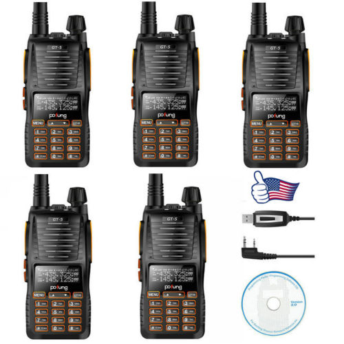 5x Baofeng GT-5 VHF/UHF 136-174/400-520 MHz Dual Band Dual PTT FM Ham Two-way Radio Walkie Talkie + 1x Programming Cable(China (Mainland))