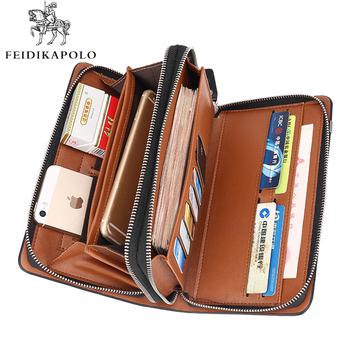 Business Men Wallet Long Designer Double Zipper Leather Male Purse Brand Mens Clutch Handy Bag Luxury Wallets carteira Masculina