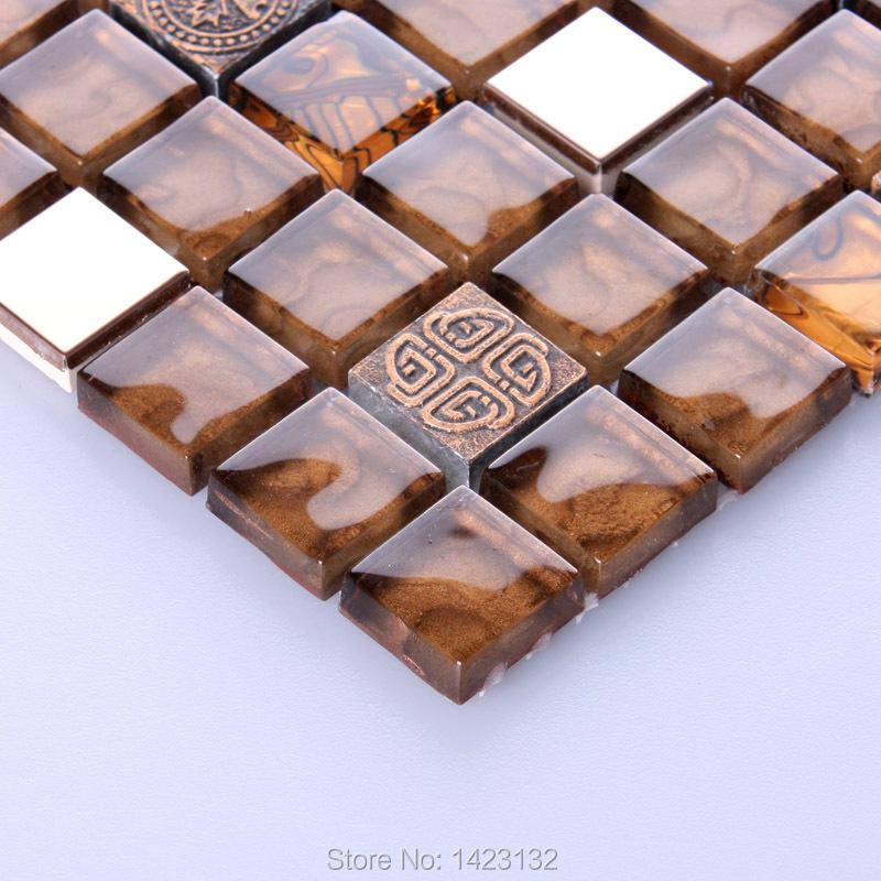 Porcelain tile glazed Ceramic gold mosaic tiles 6237 Bathroom floor tile Kitchen backsplash stickers washroom glass wall tiles(China (Mainland))