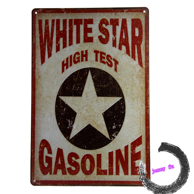 WHITESTAR High Test Gasoline, Tin/Metal Sign, Gas Oil, Wall Decor Man Cave <A5,8*12inch>(China (Mainland))
