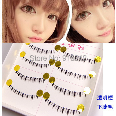 10pair Black Under Lower Eye Lashes Natural Bottom False Fake Eyelashes Makeup Set