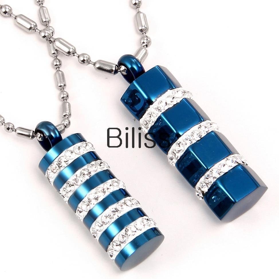 New Couples Blue Tone Stainless Steel Cylinder Pendant Necklace With Rhinestone Women Mens necklace Anniversary Birthday Gift(China (Mainland))