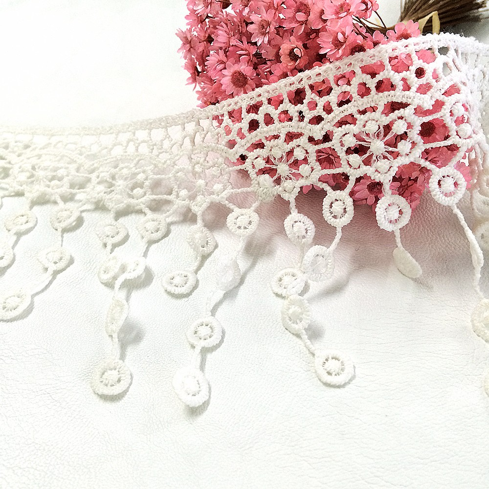 Latest arrival 200Yard/Lot 10cm Polyester White Tassel Dangling Fringe Lace Trims For Sewing DIY Craft,DHL shipping(China (Mainland))