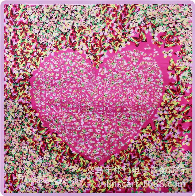 90 см * 90 см бабочка цветочные любовь главная женщины моделирования следа полотенце шарфы большая площадь 90 см шелковый шарф