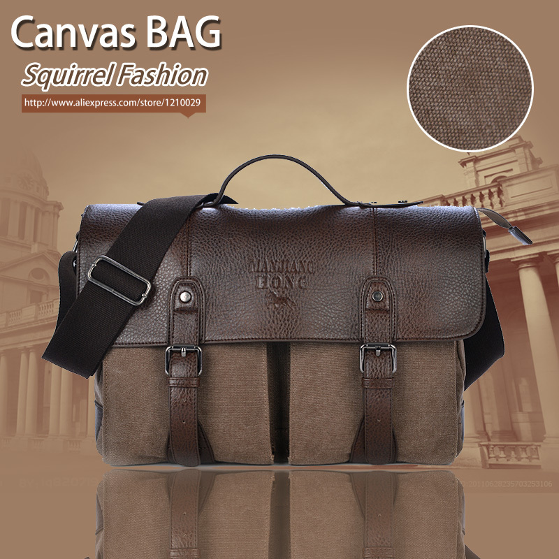 Squirrel fashion high qualities promotion canvas cover business dress men's briefcase messenger bag vintage casual handbags(China (Mainland))