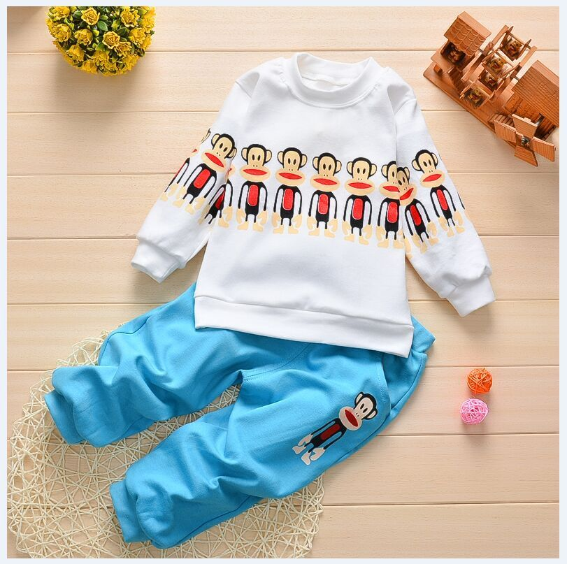 2015 New Autumn Winter Fashion Children Baby Girls And Boys Clothing Set Monkey T-shirt+pants Kids Clothes Sport Suit 0-3T 71105(China (Mainland))