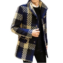 JJ 2016 spring trench coat Men single Breasted Trench Coat Men Outerwear plaid Casual Coat Men's Jacket Windbreaker Men Trench C(China (Mainland))