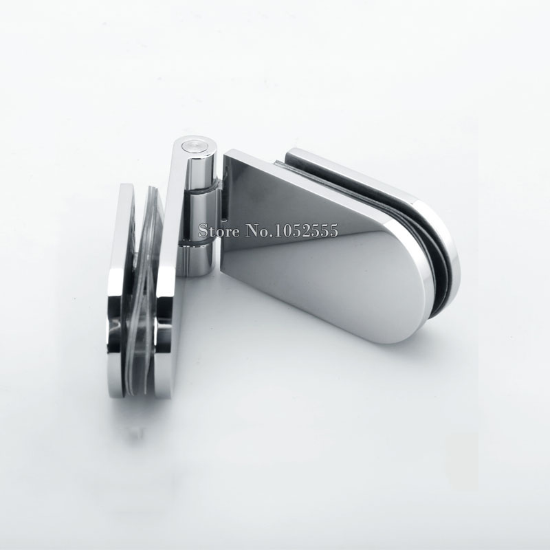 1PCS Stainless Steel Clamp Fixed Glass Door Hinge Bathroom Shower Cabin Glass-To-Glass 180 Degree(China (Mainland))