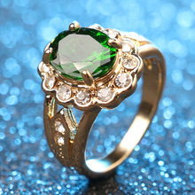 Fashion Plated 18k Gold $1 Ring For Women 2016 Imbue Emerald Charm Wedding Rings ZK J0437 Crystal Jewelry Free Delivery(China (Mainland))