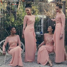 Buy Elegant Arabic Long Sleeve Bridesmaid Dress Shoulder Chiffon Ruffles Gold Sequin Bridesmaid Dresses Long Peach Color Dresses for $102.00 in AliExpress store