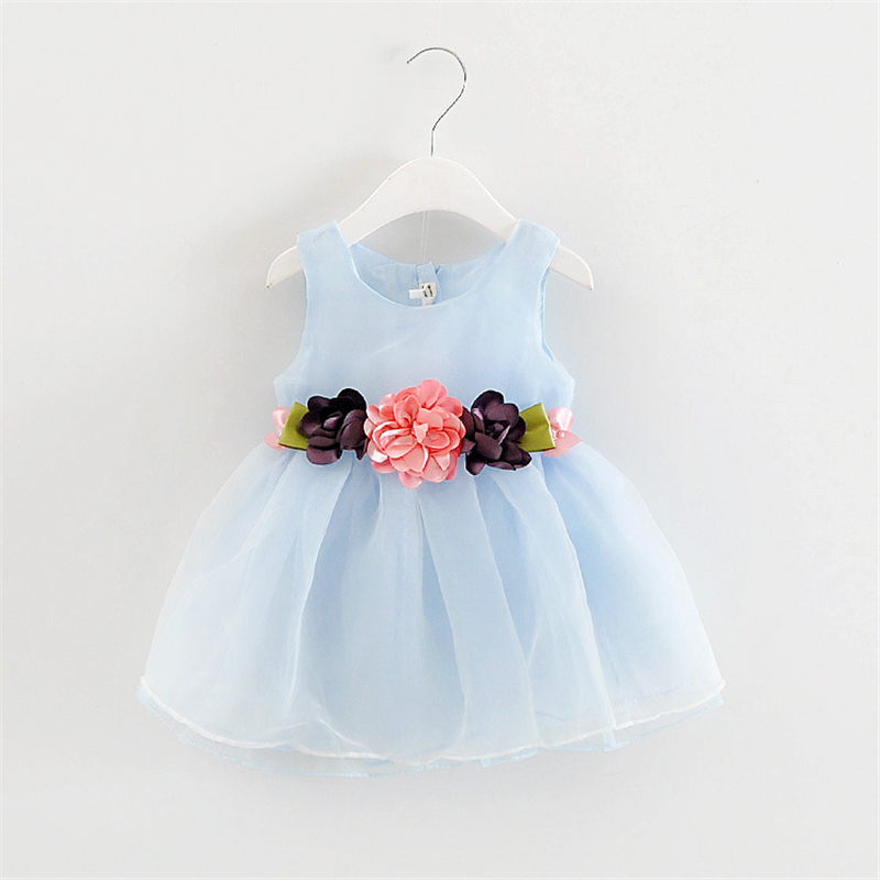 New Arrivals Summer Cute Sleeveless Three Floral Dress For Girls Chiffon Infant Dresses Baby Girl Princess Dress Free Shipping(China (Mainland))
