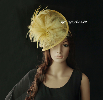 Gold yellow Feather sinamay fascinator hat for wedding,ascot races,kentucky derby,melbourne cup,party.(China (Mainland))