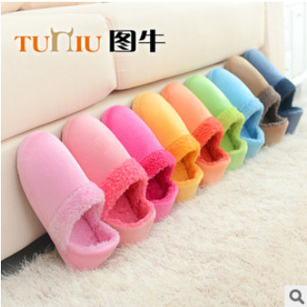 Stock Sale !Autumn New Candy Color Indoor Floor Woman/Man Slippers/Shoes,Cotton Home Slippers Chinelo pantufa 7.99 Wholesale!(China (Mainland))