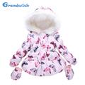 Grandwish New Winter Girls Butterfly Print Parkas Jackets Kids Pink Hooded Warm Inner Coat Outerwear Kids