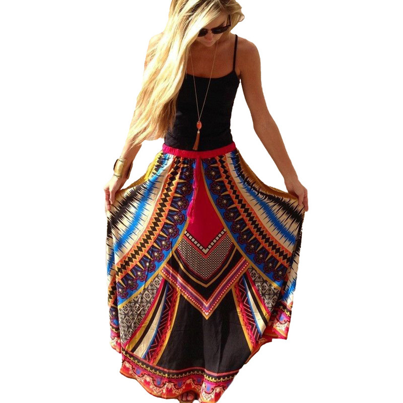 Long Skirt 2015 Women Summer Vintage Retro Print Maxi Skirts Ladies Ethnic Saia Bohemian Style Sexy Casaul Beach Midi Skirt(China (Mainland))