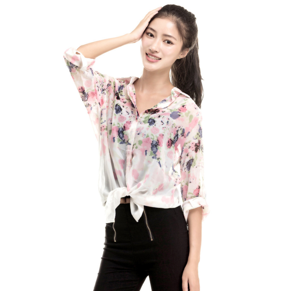 New Fashion Lapel Collar Flower Chiffon Tops Floral Print Casual Long Sleeve Shirt Tops Blouse ...