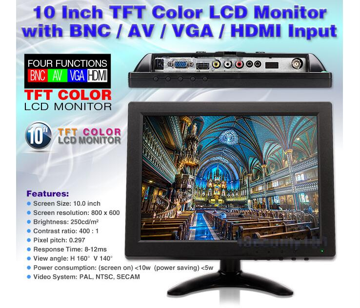 "10"" inch TFT LCD Color HDMI Monitor Screen Video for PC CCTV DVR Camera Security(China (Mainland))"