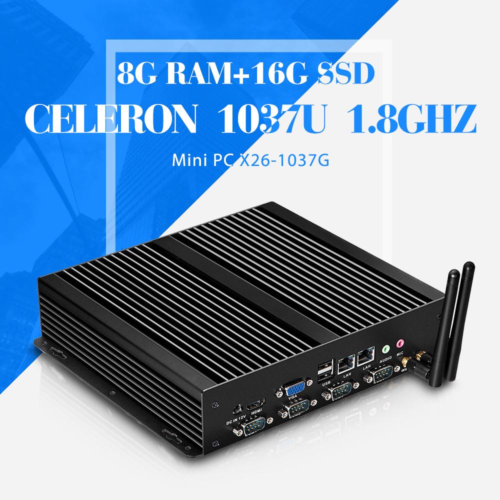 mini desktop computer hdmi embedded industrial PC celeron C1037U 8gb ram 16gb ssd+wifi thin client computer mini pc(China (Mainland))