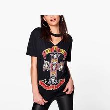 Buy Summer 2017 Guns N' Roses printed t shirt women black rock punk t-shirts Street Fashion short sleeve hip hop tops tees plus size Orders, 56458) for $13.09 in AliExpress store