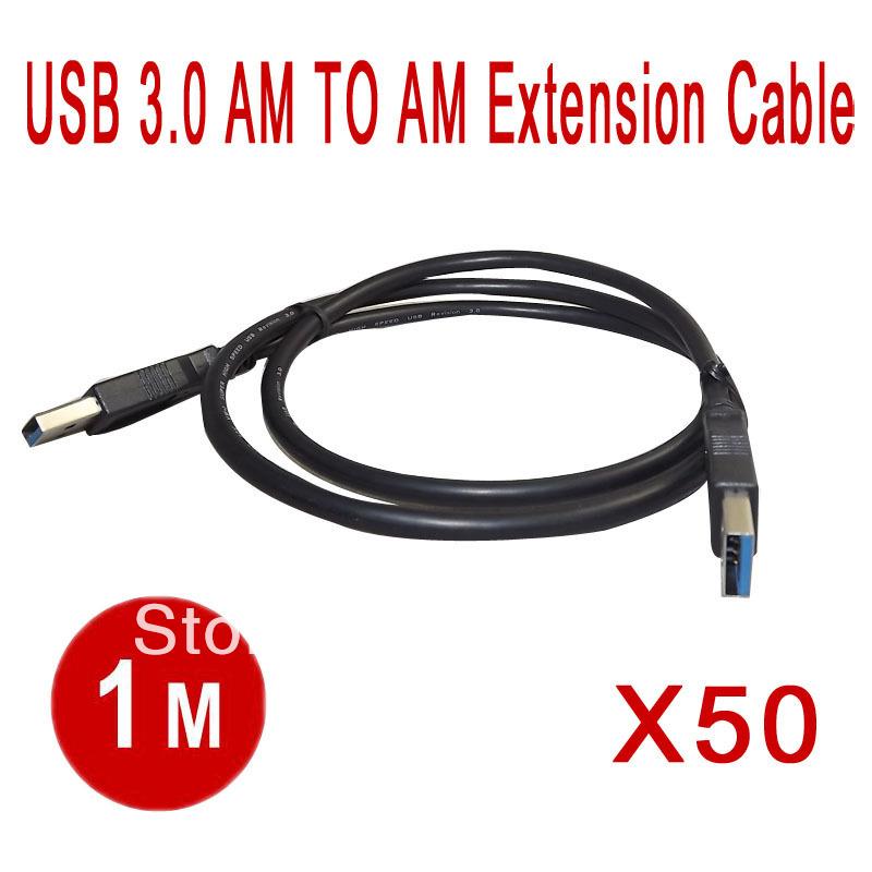 50 шт/много 1М Кабо порта USB 3.0 утра до утра удлинительные кабели, переходники Высокая скорость USB3.0 мужчина к Мужской кабель Расширенная  DHL