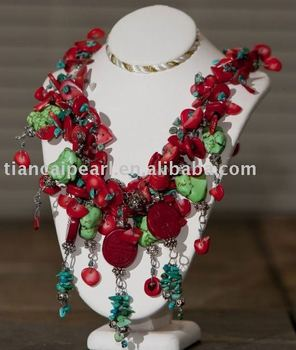 Fashion Party&Gift&Life&Wedding Costume Jewelry Nature Stone Red Coral stone Necklace