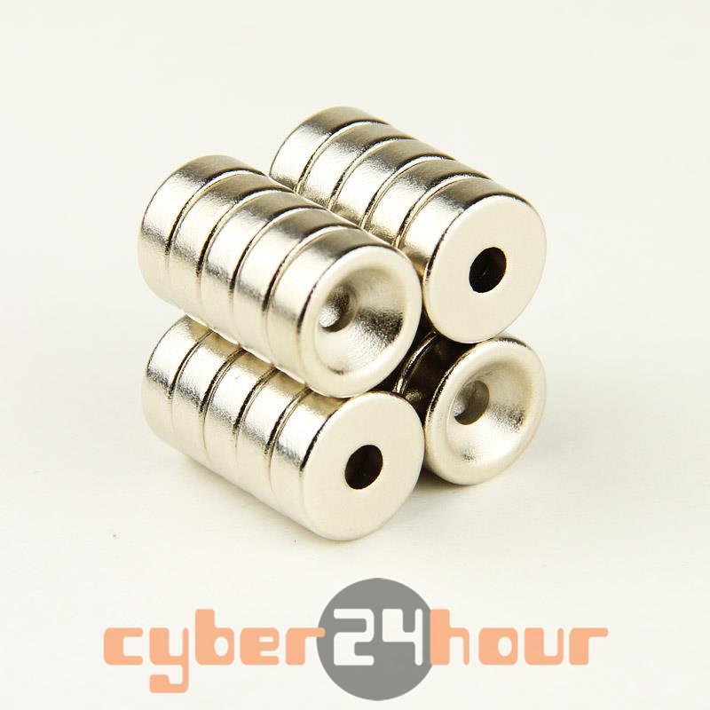 Гаджет  Lot 20pcs Strong Magnets 15 *5mm Counter Sunk Ring Hole 5mm Rare Earth Neodymium None Строительство и Недвижимость