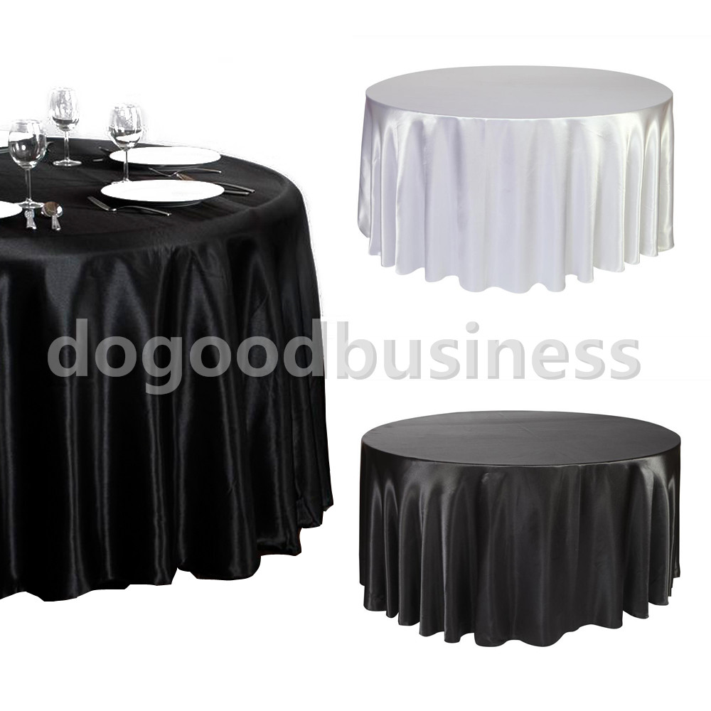 Black / White 120 Inch Round Satin Tablecloths Table Cover for Wedding Party Restaurant Banquet Decorations(China (Mainland))