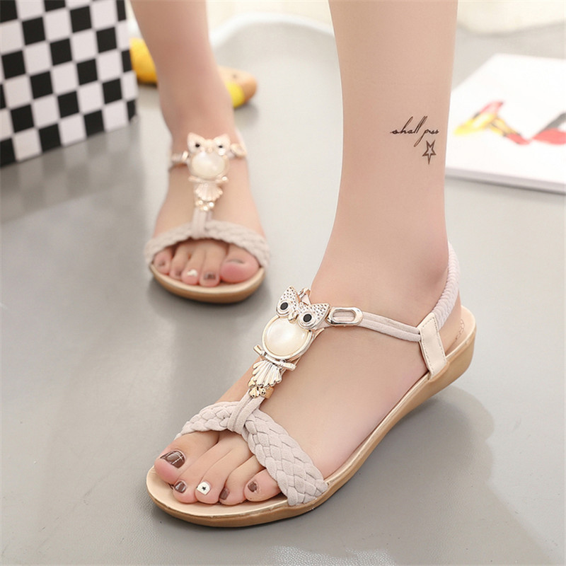 New 2016 Women Sandals Comfortable Women Shoes Summer Sandals Laies Flat Sandals Black(China (Mainland))