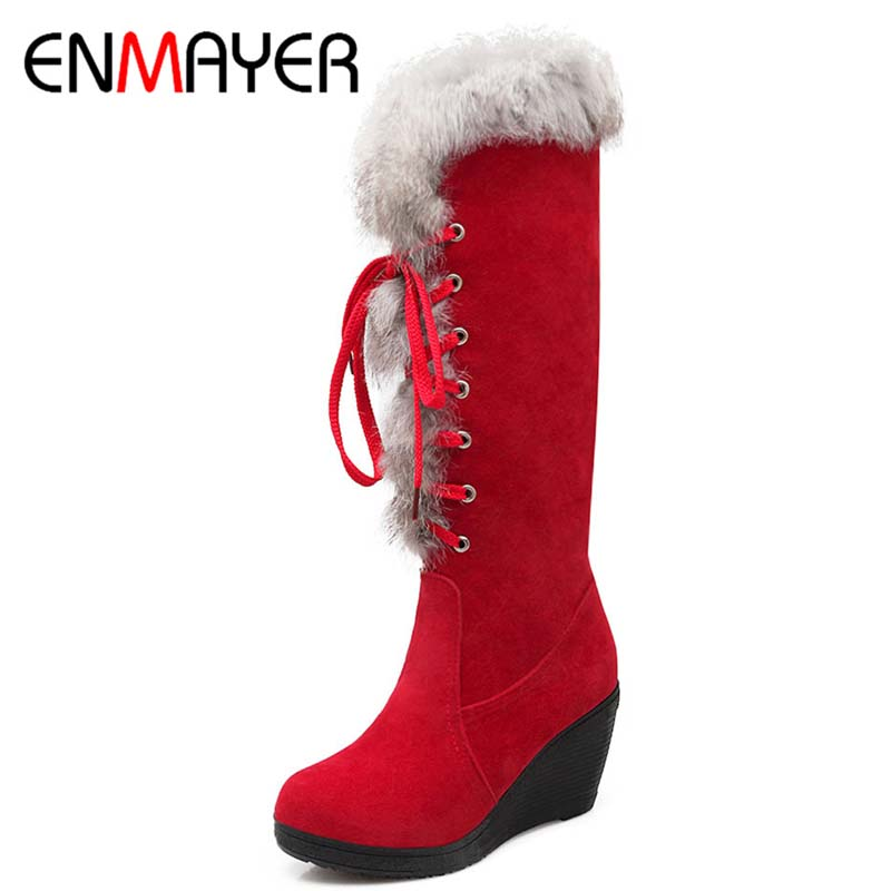 ENMAYER Size 34-39  Import  Frances Velvet Knee-High Round Toe Lace-Up Wedges Boots For Women 4-color New Fashion Boots<br><br>Aliexpress