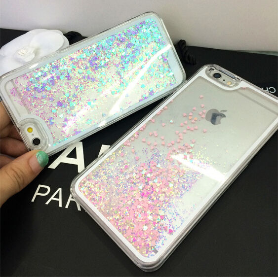 Romantic Fluorescent Heart Liquid Glitter Sand Bling Clear Case cover for Apple iPhone 4 4s 5 5s 5C 6 6S 6plus Cell Phone Cases(China (Mainland))