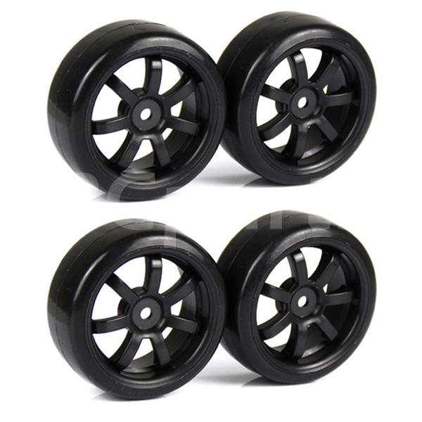 4 x Black RC 1:10 Drift On Road Car 7 Spoke Wheel Rims & Tires Rubber Plastic(China (Mainland))