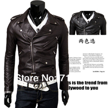 2014 New Designer Autumn And Winter Fashion Leather Jackets Men New Korean Casual Leather Coats Men PU Buttons Leather Clothing