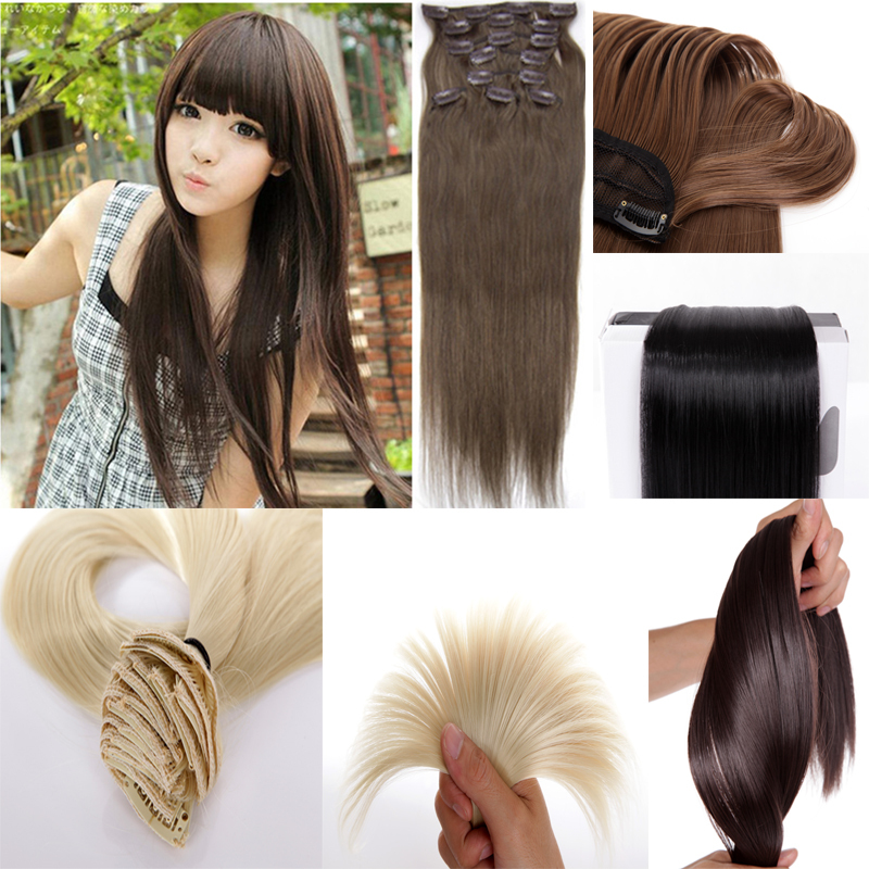 New Long 26 inch Ladies Clip in On Hair Extension Straight Synthetic Hairpiece 16 Colors Full Head Free Shipping<br><br>Aliexpress